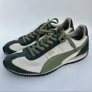 Puma Speeder green & ivory/cream sneakers- 10